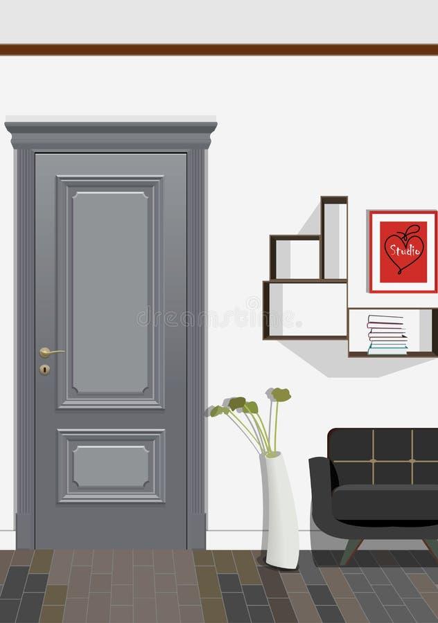Illustration av ett rum med dörrar, en stol, bilden och blommor Inre av rummet med möblemang royaltyfri illustrationer