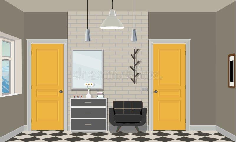 Illustration av ett rum med gula dörrar, en stol, böcker, lampan och byrån Inre av rummet med möblemang stock illustrationer
