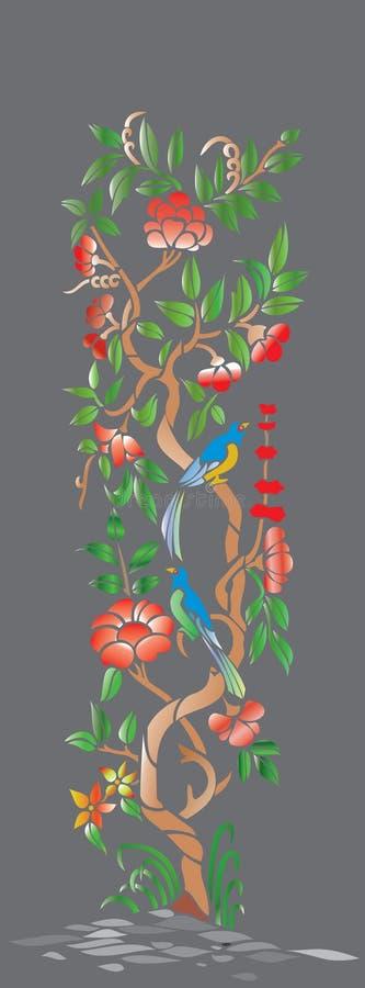 Illustration av ett träd och fåglar på en grå bakgrund royaltyfri illustrationer