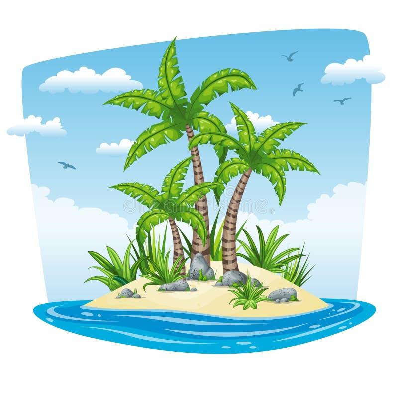 Illustration av ett tropiskt ölandskap royaltyfri illustrationer