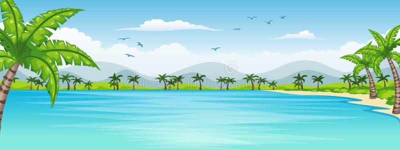 Illustration av ett tropiskt kust- landskap royaltyfri illustrationer