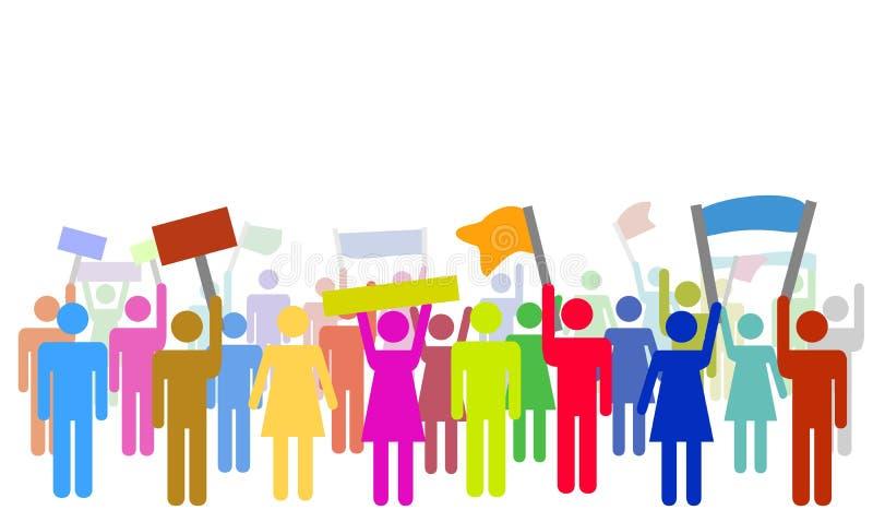 Illustration av färgrika personer som protesterar royaltyfri illustrationer