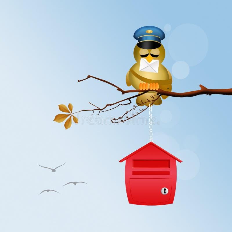 Illustration av fågelbrevbäraren vektor illustrationer