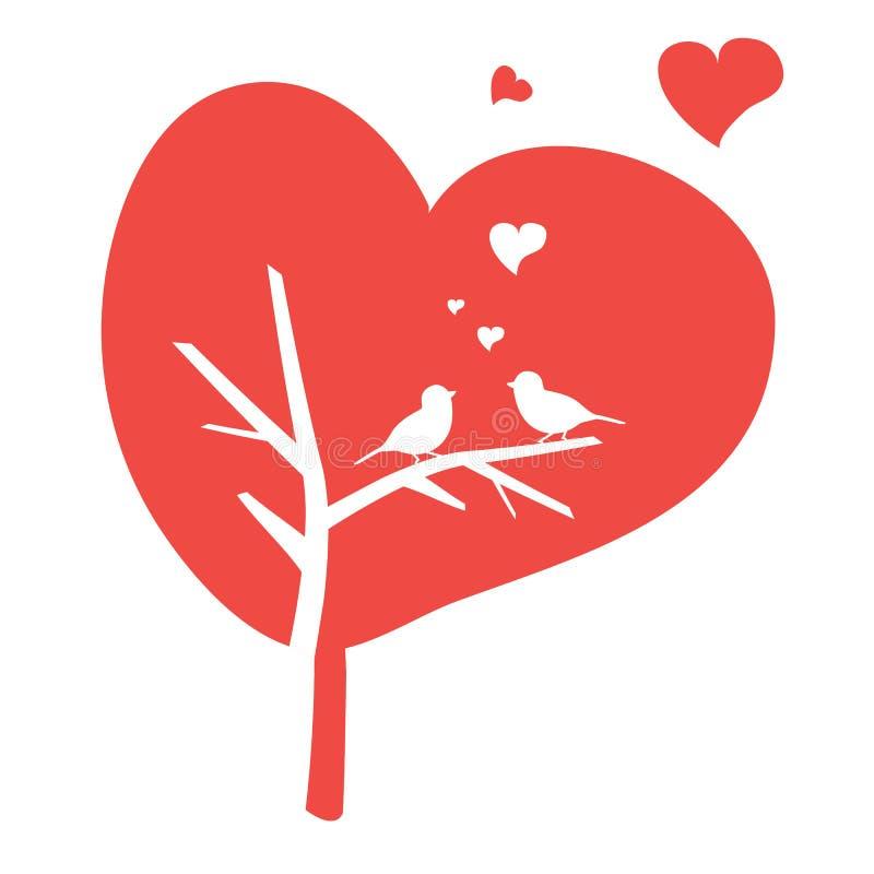 Illustration av fågeln på träd stock illustrationer