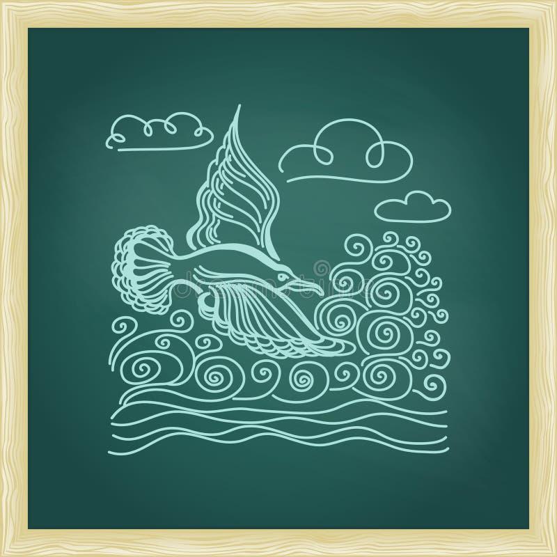 Illustration av fågelseagullen, himmel och vågor stock illustrationer