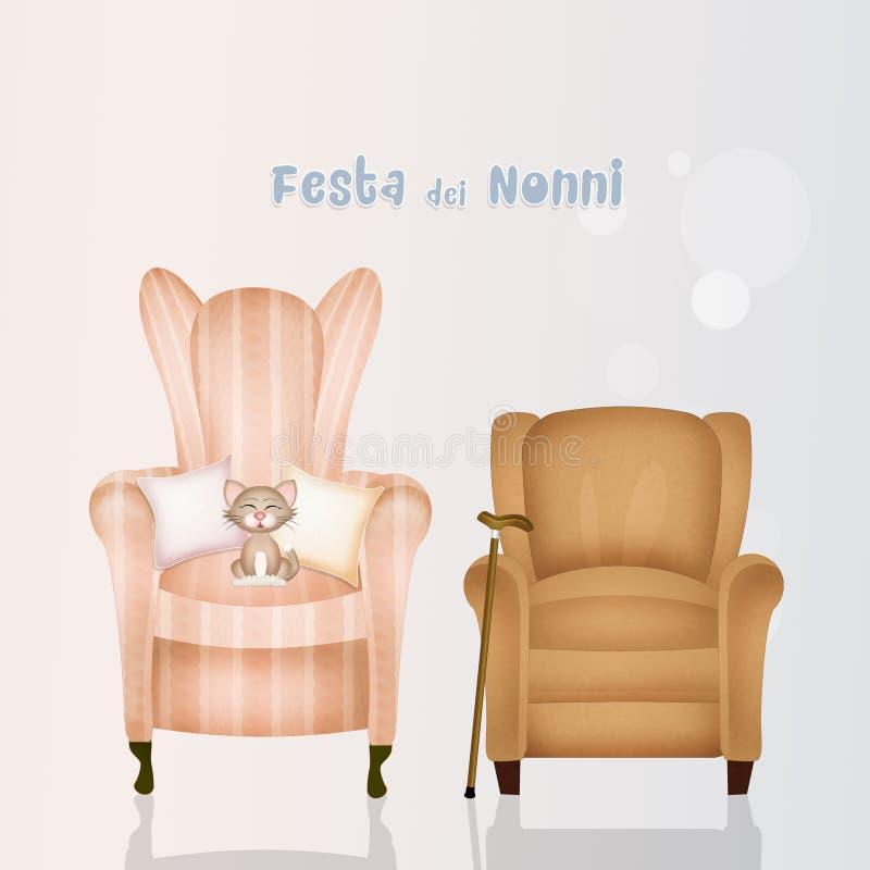 Illustration av fåtöljmorföräldrar royaltyfri illustrationer