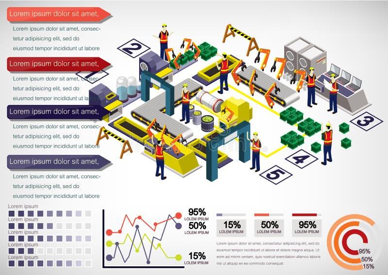 Illustration av för fabriksutrustning för information det grafiska begreppet royaltyfri illustrationer