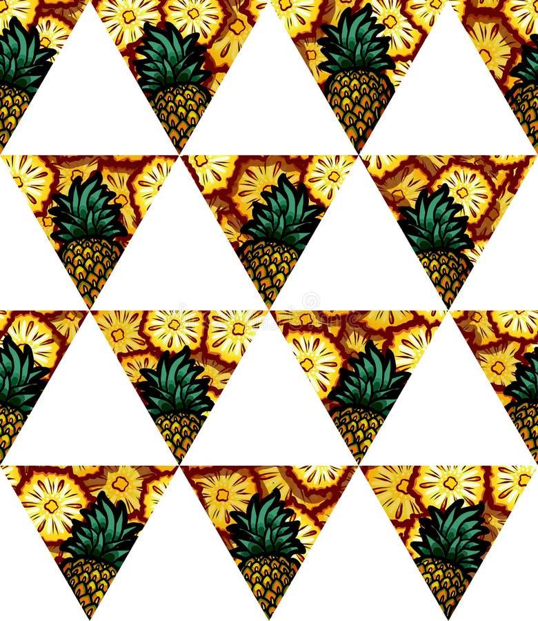 Illustration av för geometrisk den sömlösa modellen triangelflagga för ananas royaltyfri foto