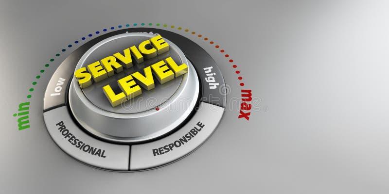 Illustration av för knoppknapp för tjänste- nivå strömbrytaren Högt konfidensnivåbegrepp Teknisk design, modern ledning stock illustrationer