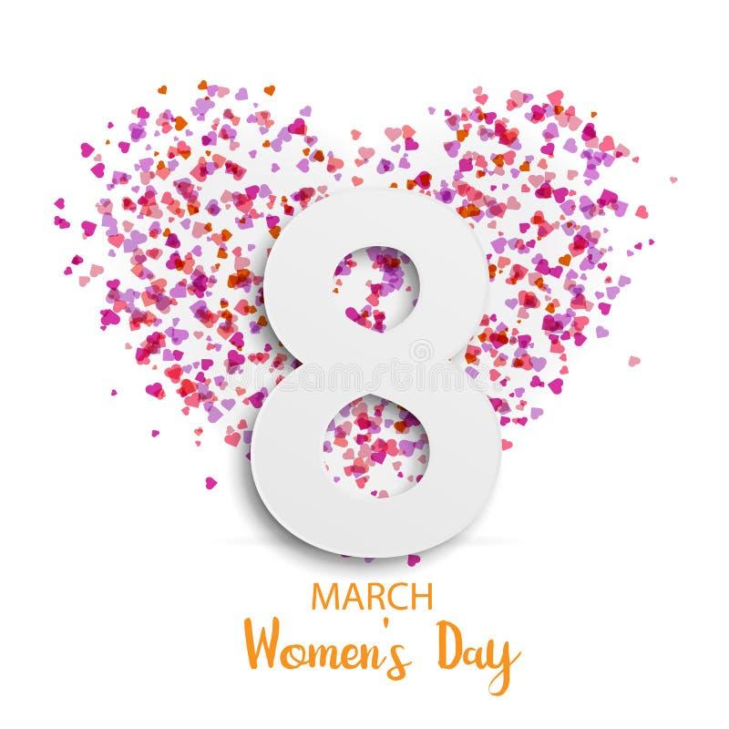 Illustration av 8 för kvinna` s för marsch det internationella kortet för hälsning för dag stock illustrationer