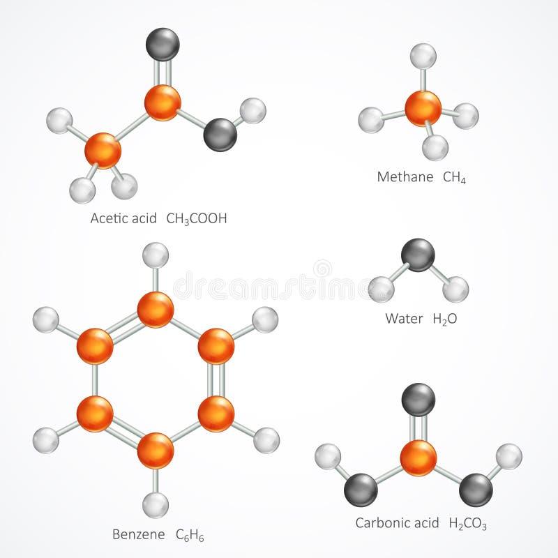 Illustration av för molekylmodell för molekylär struktur 3d, boll- och pinneättiksyra, metangas, vatten, bensen, kolsyra, stock illustrationer