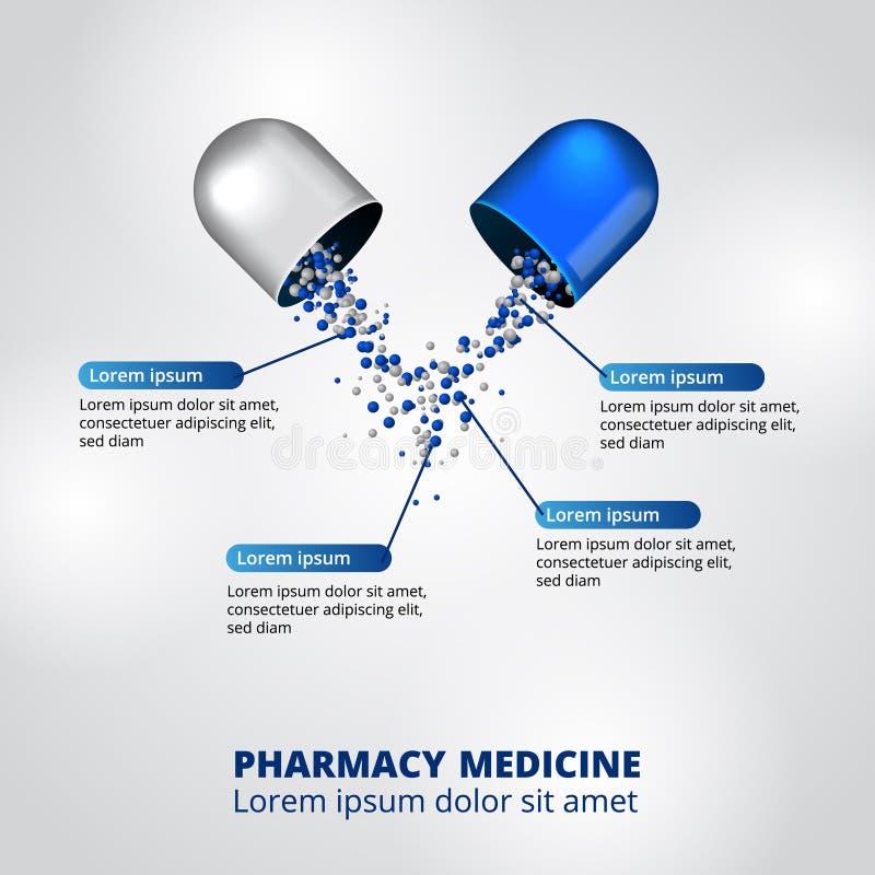 Illustration av för pillermedicin för kapsel 3D ingredienser för näring för sjukvård för visualization för data för apotek infogr royaltyfri illustrationer