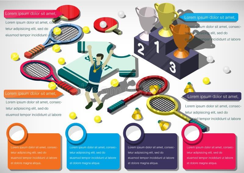 Illustration av för sportutrustning för information det grafiska begreppet royaltyfri illustrationer