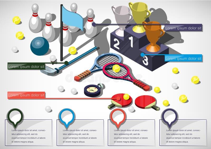 Illustration av för sportutrustning för information det grafiska begreppet vektor illustrationer
