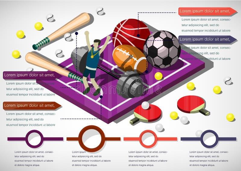 Illustration av för sportutrustning för information det grafiska begreppet stock illustrationer