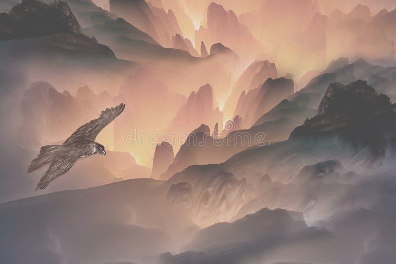 Illustration av fördelande vingar för en örn mellan alpina skogar royaltyfri illustrationer
