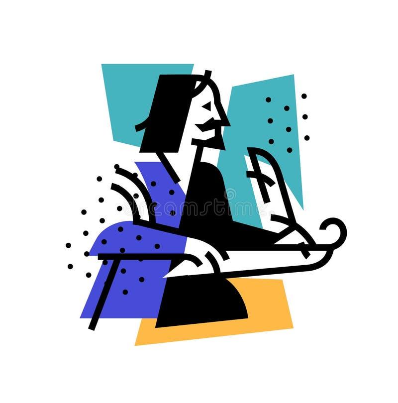 Illustration av författaren, poeten Symbol av logoen för den litterära klubban Illustration för en tatuering, plats, affisch, vyk stock illustrationer