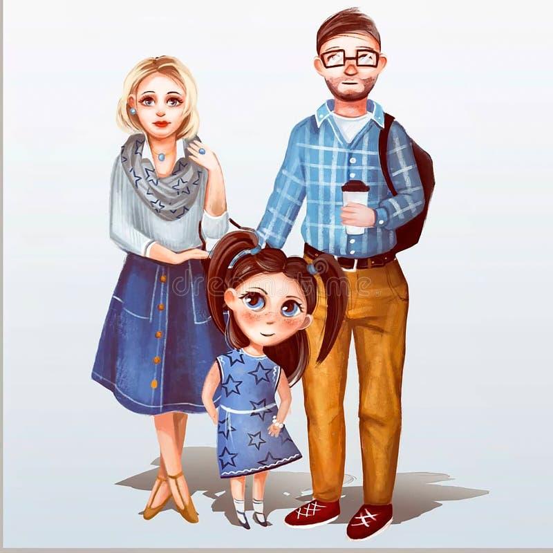 Illustration av fadern, modern och dottern vektor illustrationer