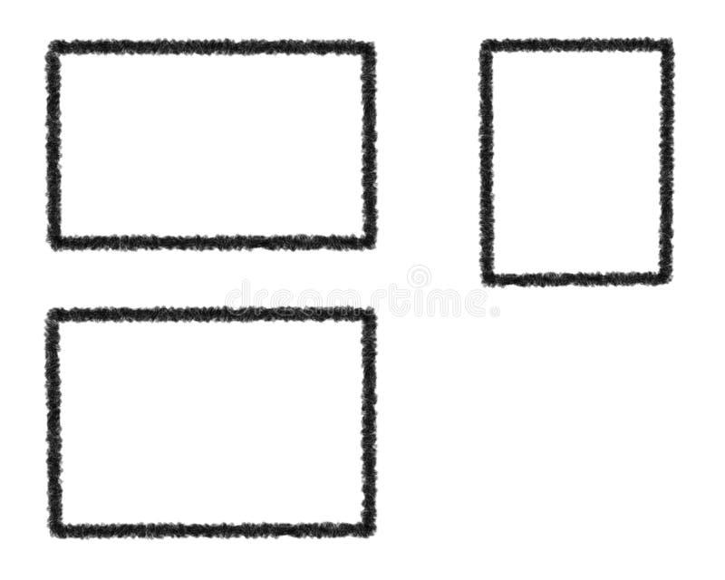 Illustration av fastställda grungeramar - vektor royaltyfri illustrationer