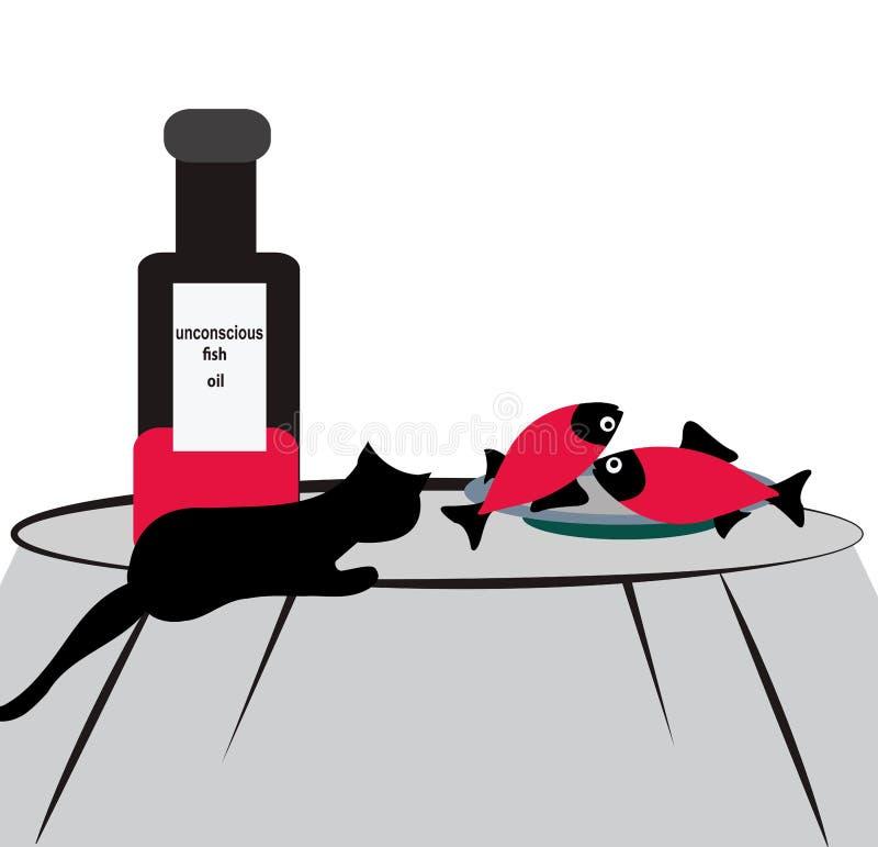 Illustration av fisken på en platta med en katt som håller ögonen på dem illustration det gömda medvetslöst stock illustrationer