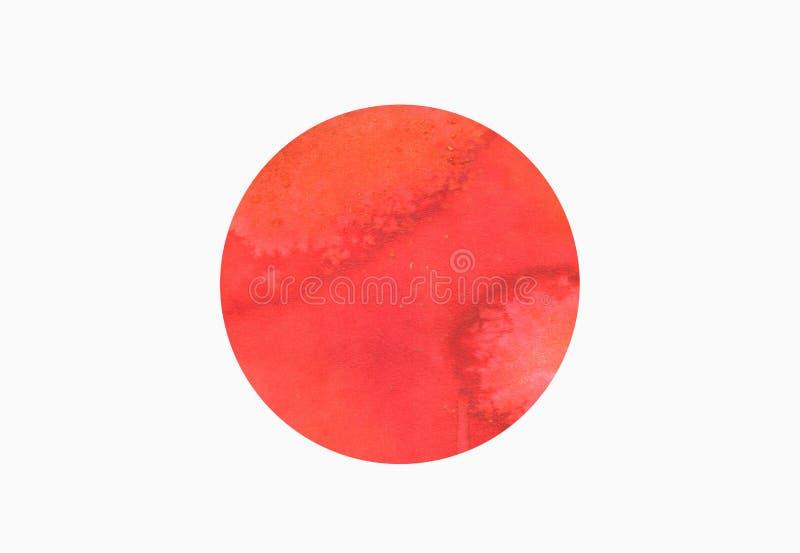 Illustration av flaggan av Japan med vattenfärgbeståndsdelen royaltyfri illustrationer