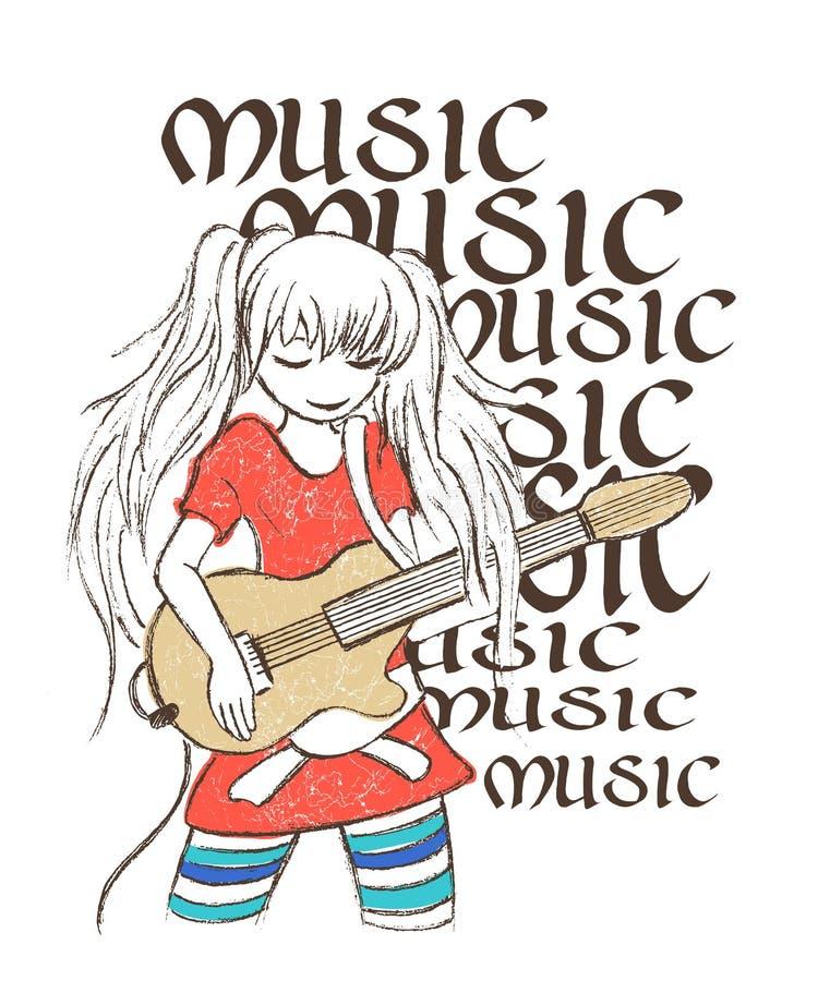 Illustration av flickan som spelar gitarren, utslagsplatsskjortatryck royaltyfri illustrationer