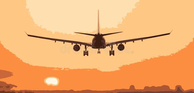 illustration av flygplanet på solnedgången stock illustrationer