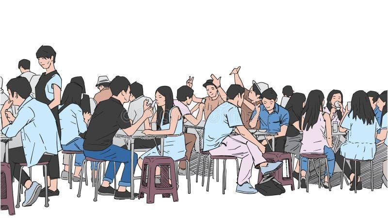 Illustration av folk som dricker och äter gatamat stock illustrationer