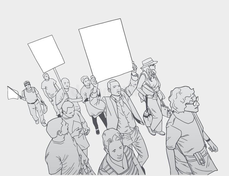 Illustration av folkmassan som protesterar mot polisbrutalitet, med tomt tecken royaltyfri illustrationer