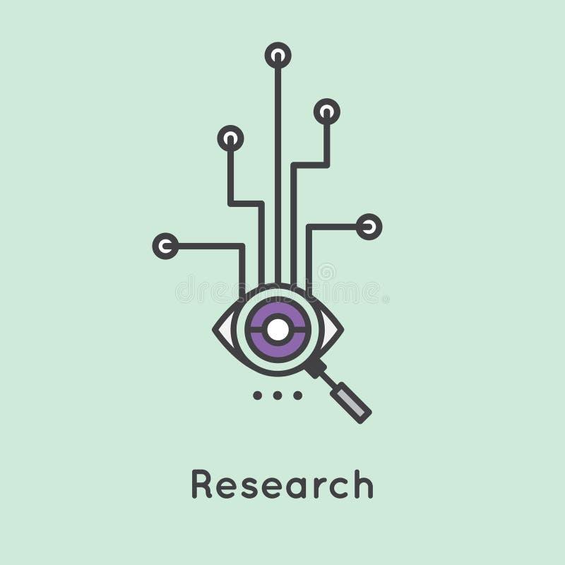 Illustration av forskningprocessen royaltyfri illustrationer