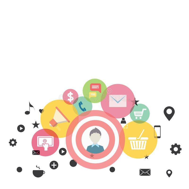 Illustration av fotoet för symbol, för beståndsdelar, för begrepp och för symbol för aktion för affärsDigital marknadsföring det  stock illustrationer