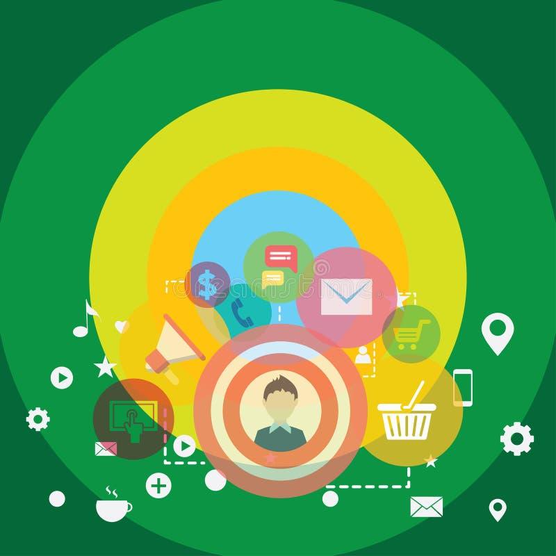 Illustration av fotoet för symbol, för beståndsdelar, för begrepp och för symbol för aktion för affärsDigital marknadsföring det  royaltyfri illustrationer