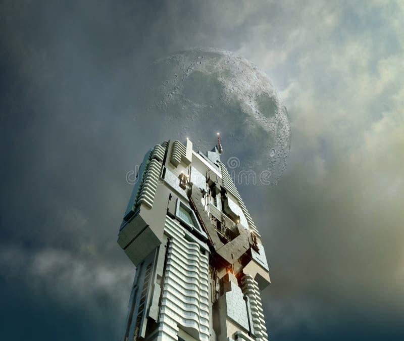 Illustration av futuristisk skyskrapaarkitektur vektor illustrationer