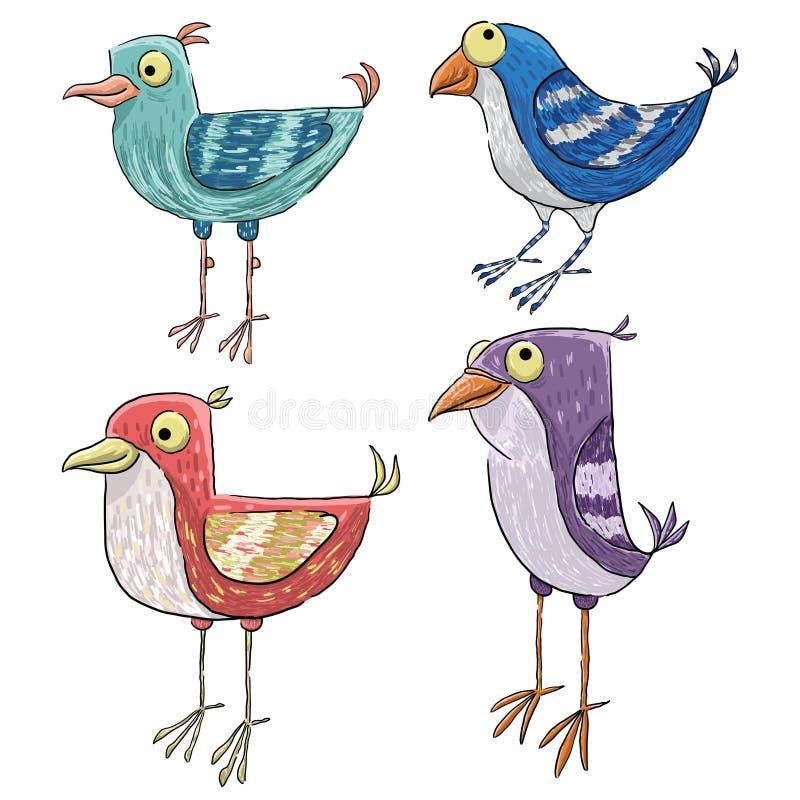 Illustration av fyra gulliga fåglar för tappning stock illustrationer