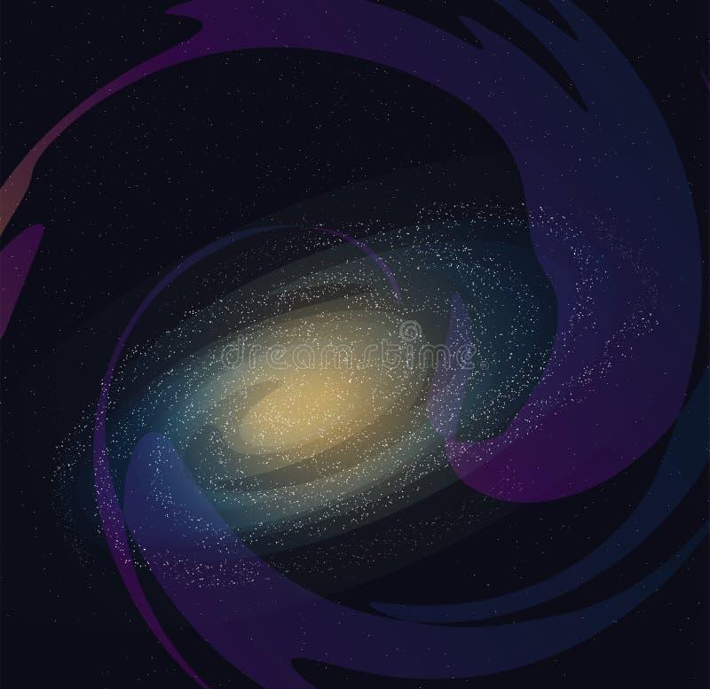 Illustration av galaxen, stjärnor och den mjölkaktiga vägen i utrymmet royaltyfri bild