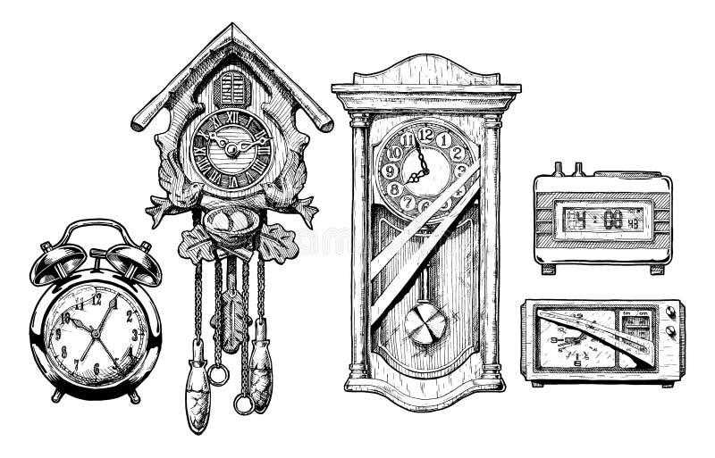 Illustration av gamla klockor vektor illustrationer