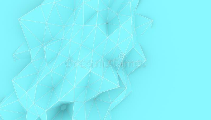 Illustration av geometrisk yttersida för polygonal triangel 3D framför backround av låg poly bakgrund med ett tomt utrymme vektor illustrationer