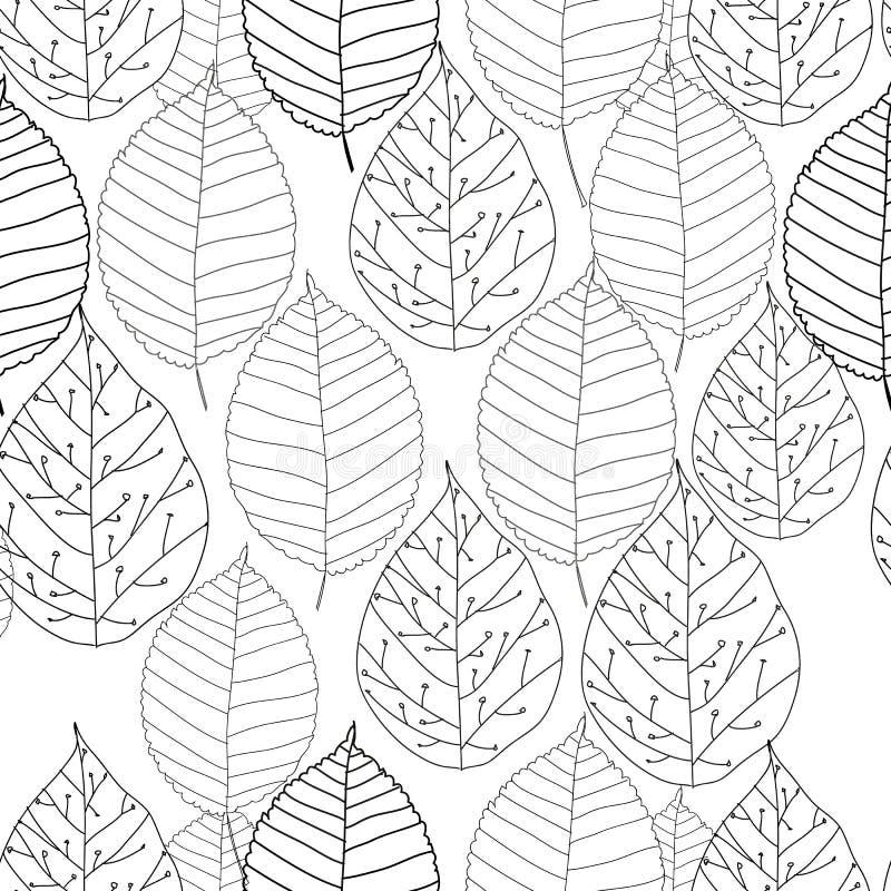 Illustration av grafiska höstsidor seamless textur för modell Den drog handen, skissar, den grafiska designen vektor illustrationer