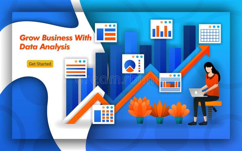 Illustration av Grow affären med dataanalys den övre pilen indikerar försäljningar och trafik Den yrkesmässiga redovisningen ger  vektor illustrationer
