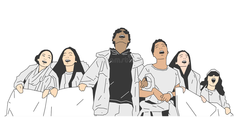 Illustration av gruppen av studenter som protesterar med tecken och baner royaltyfri illustrationer