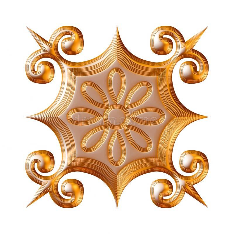 Illustration av guld- blom- modeller för smycken på isolerad vit bakgrund royaltyfri illustrationer