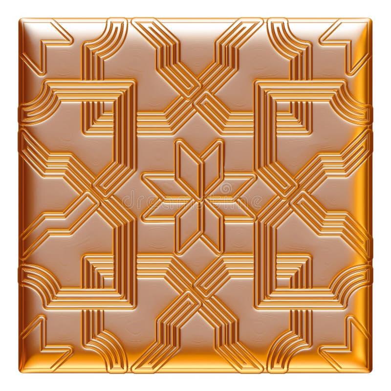 Illustration av guld- blom- modeller för smycken på isolerad vit bakgrund stock illustrationer
