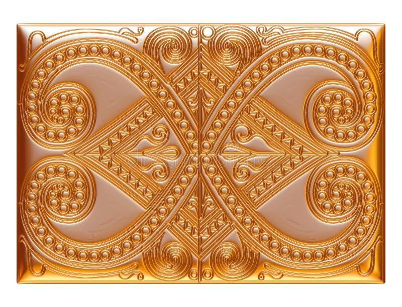 Illustration av guld- blom- modeller för smycken på isolerad vit bakgrund vektor illustrationer