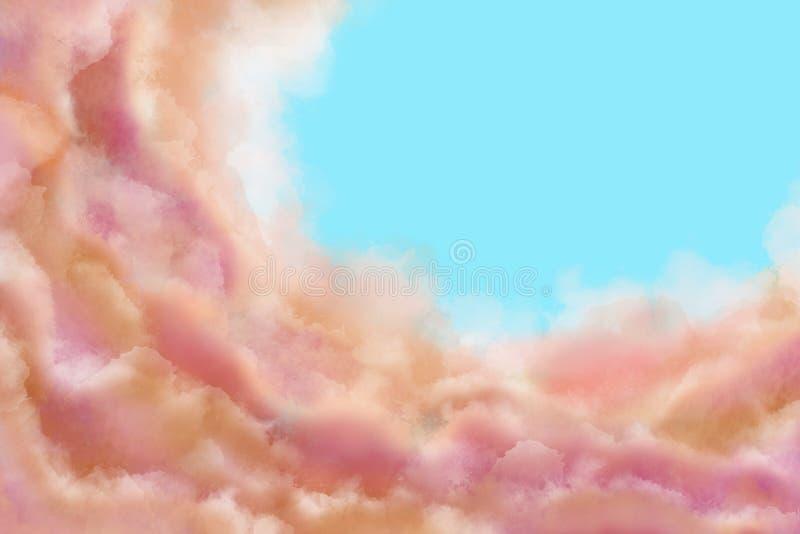 Illustration av guld- och pastellfärgade moln på en mjuk blå himmel Abstrakt bakgrund royaltyfri fotografi