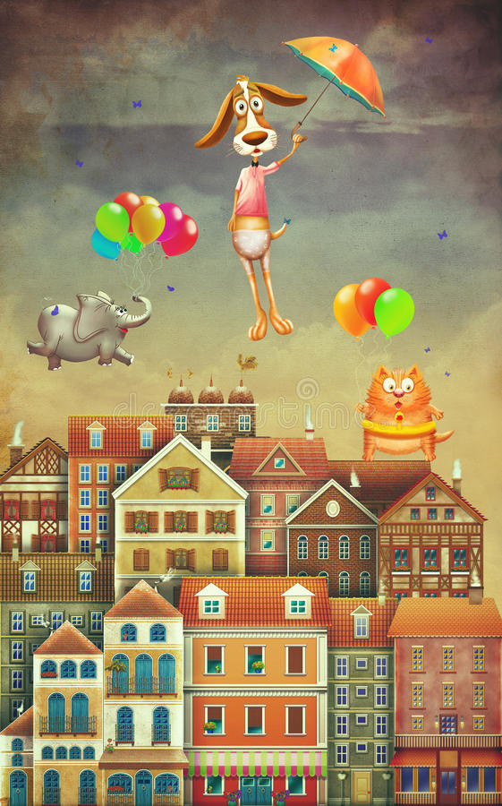 Illustration av gulliga hus och djur i himmel vektor illustrationer