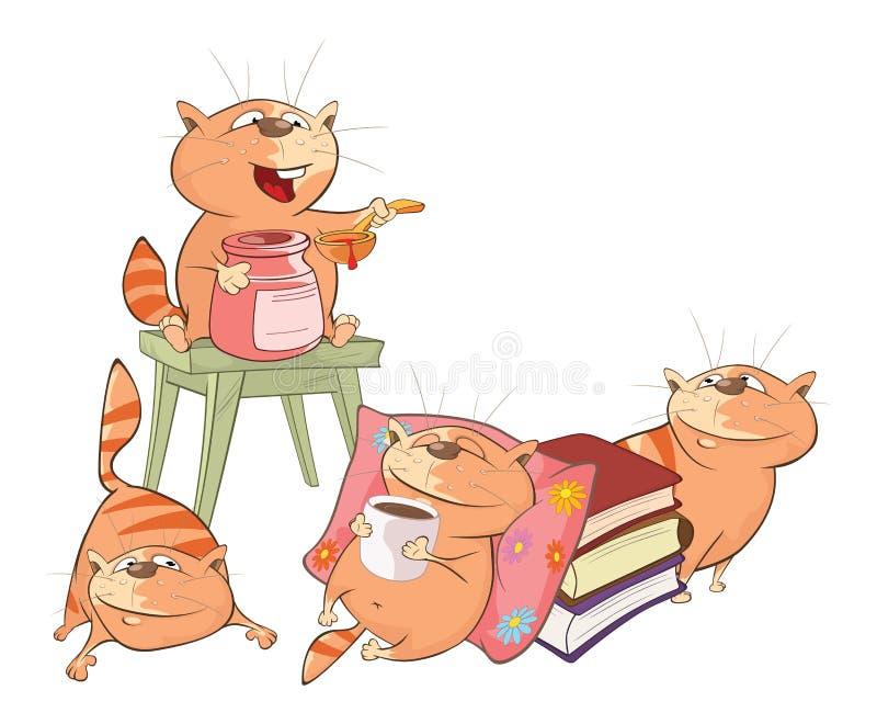 Illustration av gulliga katter huvudet för uppnosiga gulliga hundar för bakgrundstecknad filmteckenet isolerade det lyckliga leen stock illustrationer