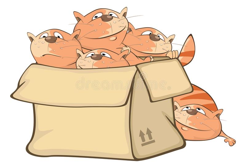 Illustration av gulliga katter och en ask huvudet för uppnosiga gulliga hundar för bakgrundstecknad filmteckenet isolerade det ly stock illustrationer
