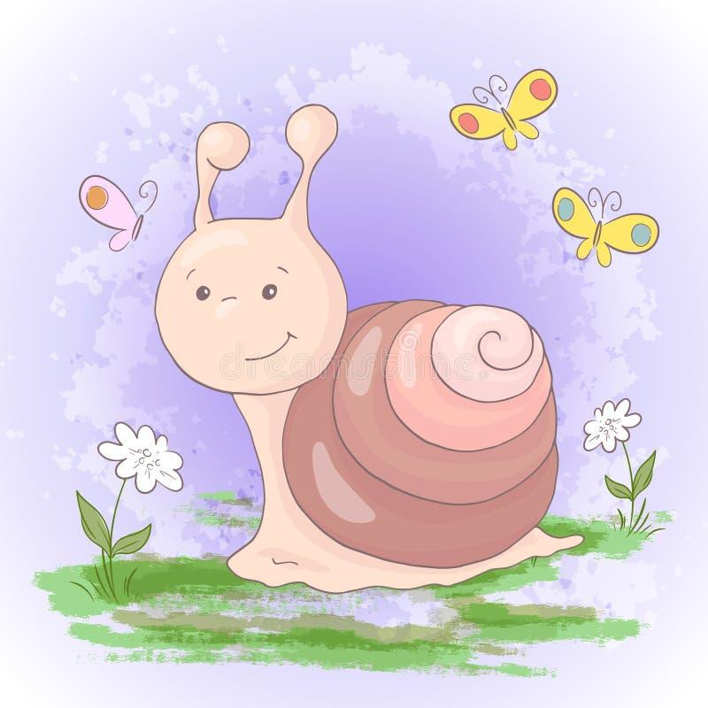 Illustration av gulliga tecknad filmsnigelblommor och fjärilar stock illustrationer