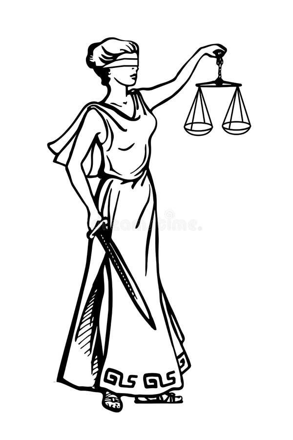 Illustration av hållande våg för dam Justice och svärdet och att bära en ögonbindel i en tappningträklossstil stock illustrationer
