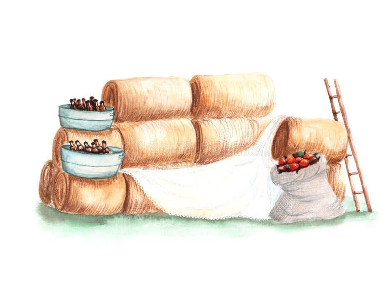 Illustration av hö för vattenfärgfotozon stock illustrationer